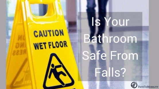 Slippery floor sign to prevent falls in the bathroom