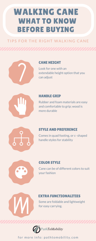 walking cane- what to know before buying (infographic)